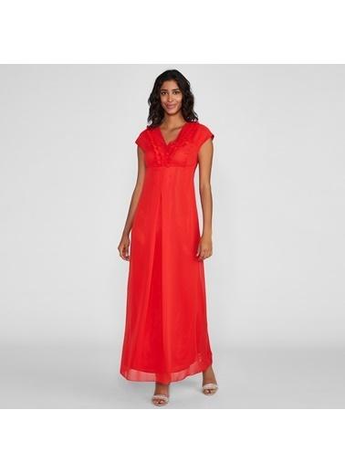 Vekem-Limited Edition Kolsuz V Yakalı Yakada Fırfır Detaylı Uzun Elbise Kırmızı